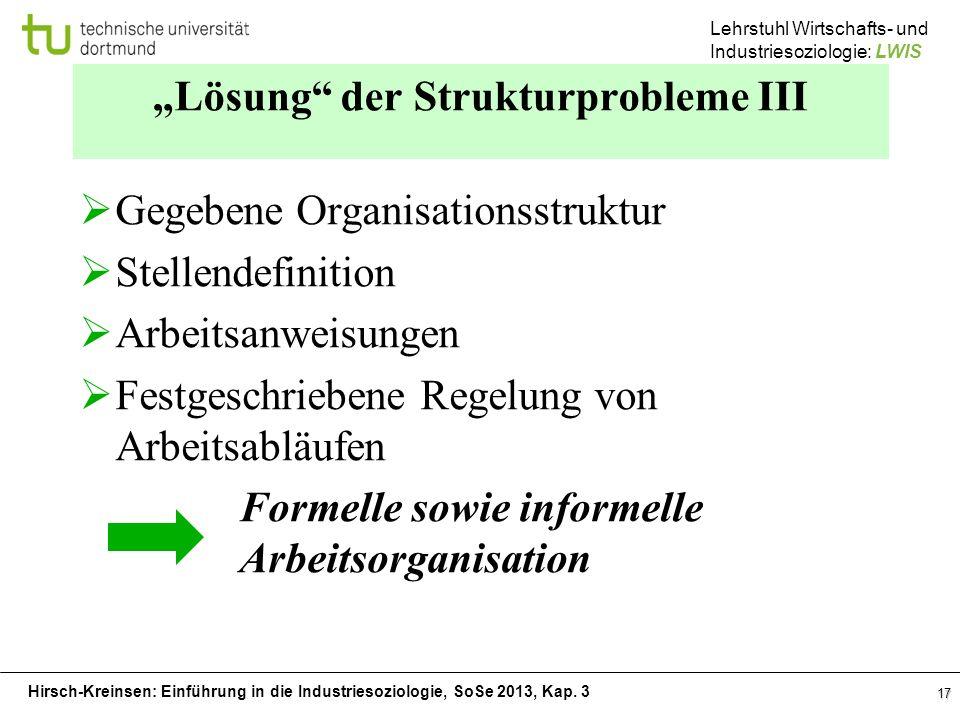 """""""Lösung der Strukturprobleme III"""