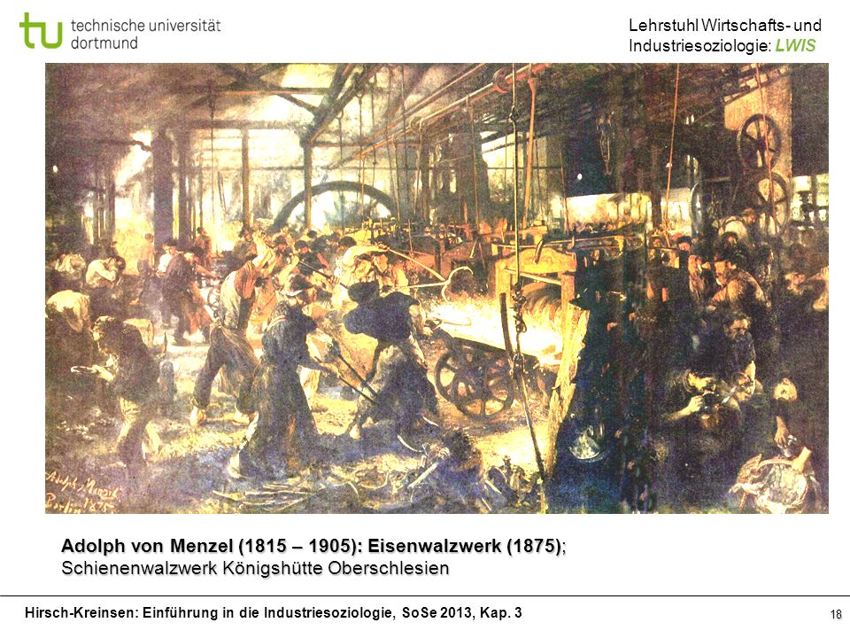 Adolph von Menzel (1815 – 1905): Eisenwalzwerk (1875);