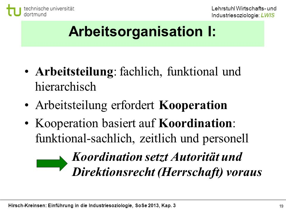 Arbeitsorganisation I: