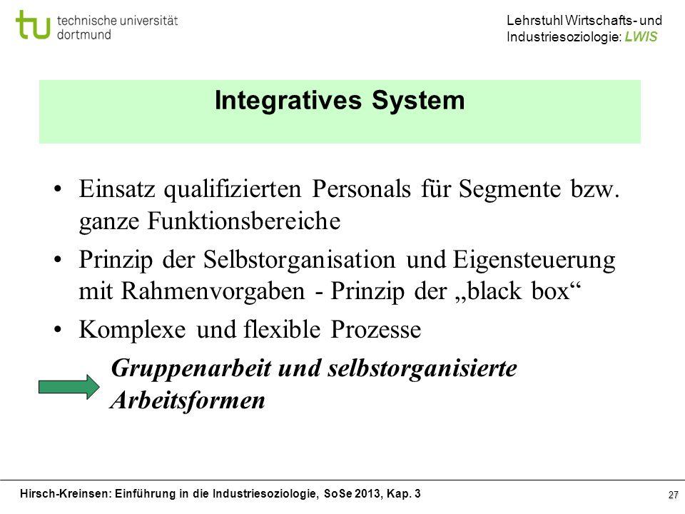 Integratives System Einsatz qualifizierten Personals für Segmente bzw. ganze Funktionsbereiche.