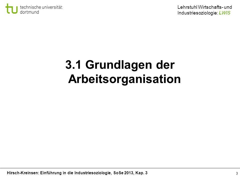 3.1 Grundlagen der Arbeitsorganisation