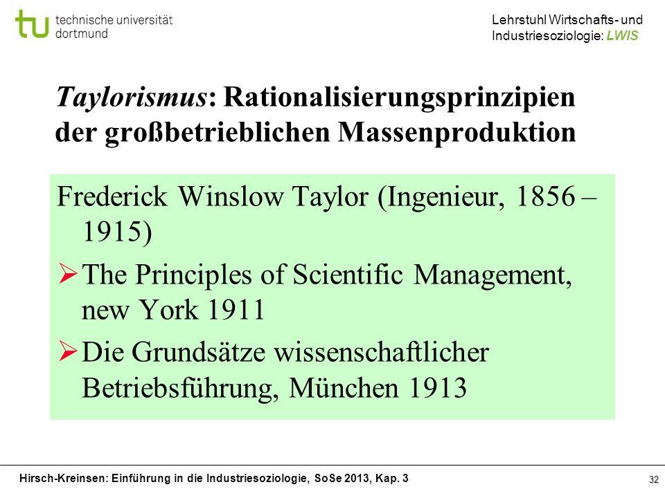 Taylorismus: Rationalisierungsprinzipien der großbetrieblichen Massenproduktion
