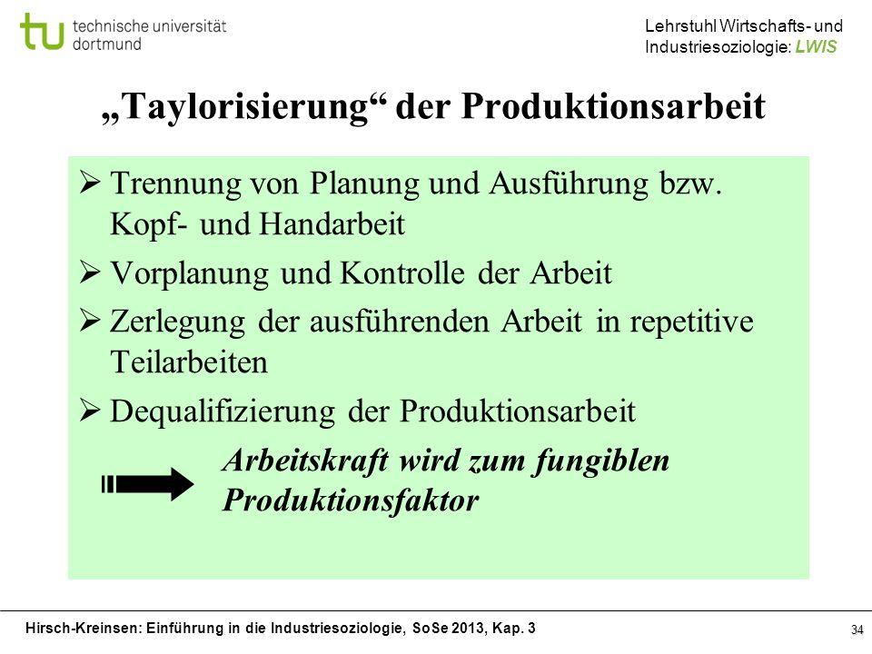 """""""Taylorisierung der Produktionsarbeit"""