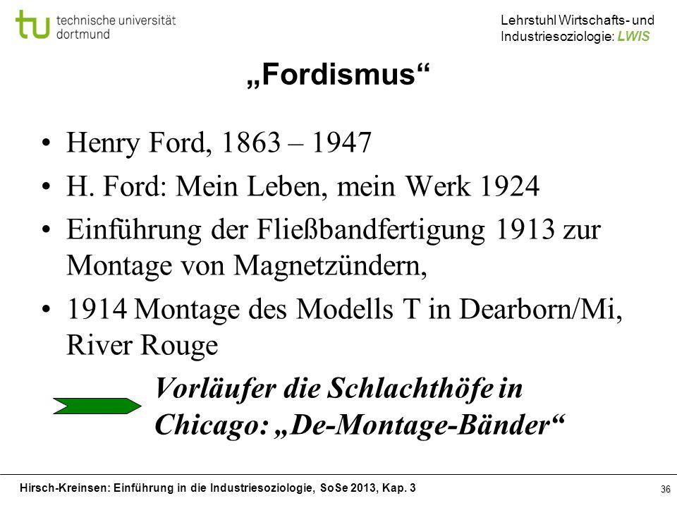 """""""Fordismus Henry Ford, 1863 – 1947. H. Ford: Mein Leben, mein Werk 1924. Einführung der Fließbandfertigung 1913 zur Montage von Magnetzündern,"""