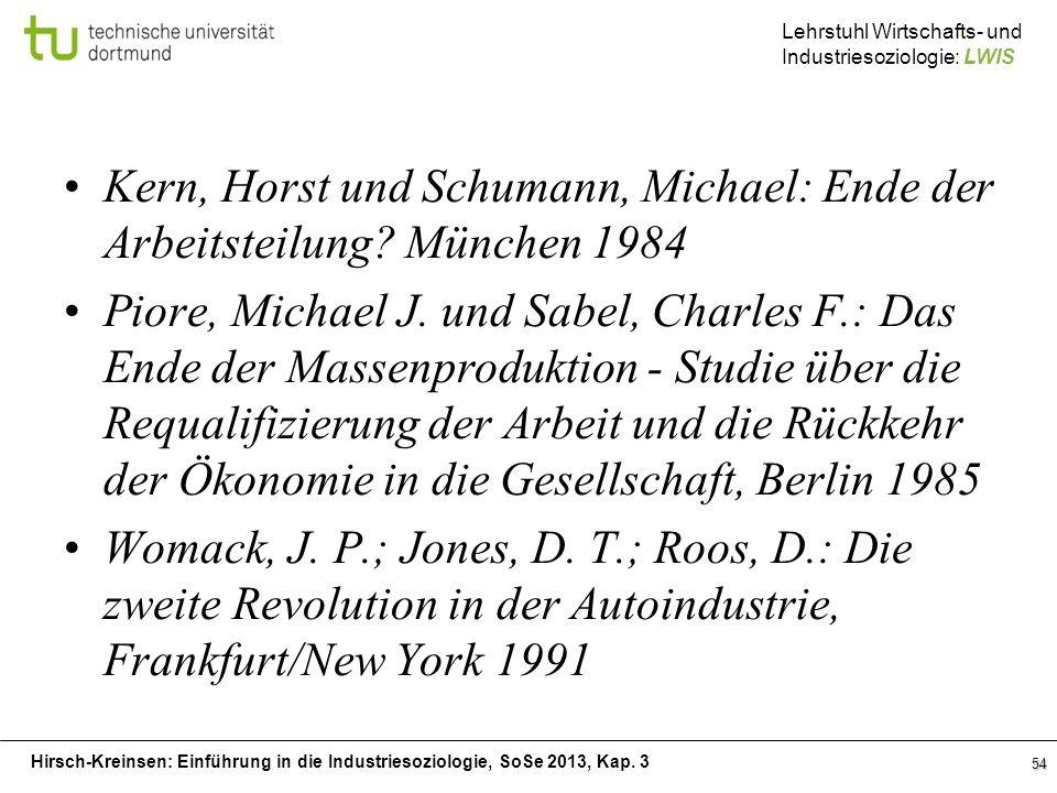Kern, Horst und Schumann, Michael: Ende der Arbeitsteilung