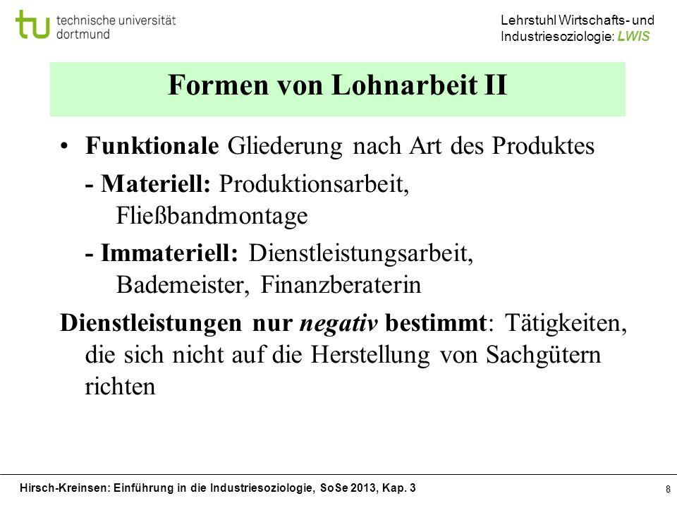 Formen von Lohnarbeit II