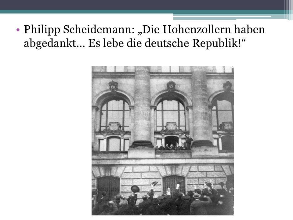 """Philipp Scheidemann: """"Die Hohenzollern haben abgedankt… Es lebe die deutsche Republik!"""