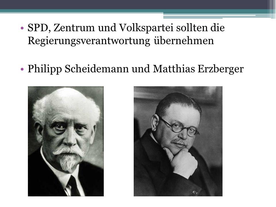 SPD, Zentrum und Volkspartei sollten die Regierungsverantwortung übernehmen