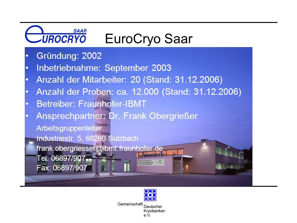 EuroCryo Saar Gründung: 2002 Inbetriebnahme: September 2003