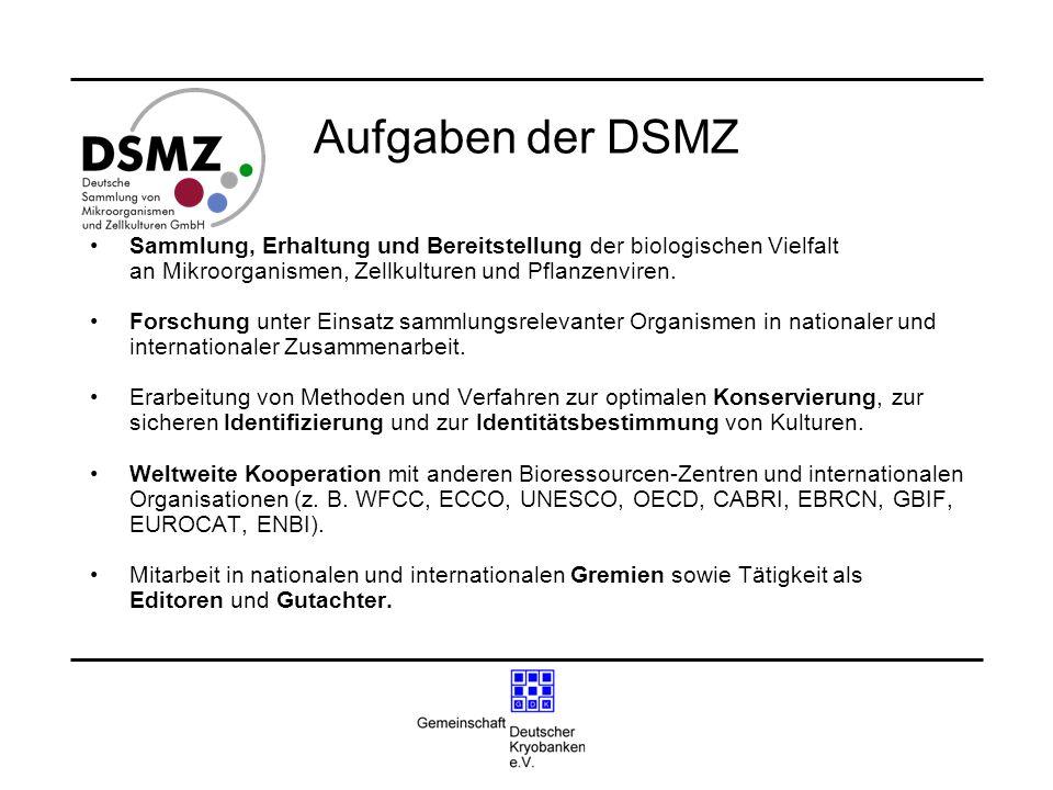 Aufgaben der DSMZ Sammlung, Erhaltung und Bereitstellung der biologischen Vielfalt. an Mikroorganismen, Zellkulturen und Pflanzenviren.