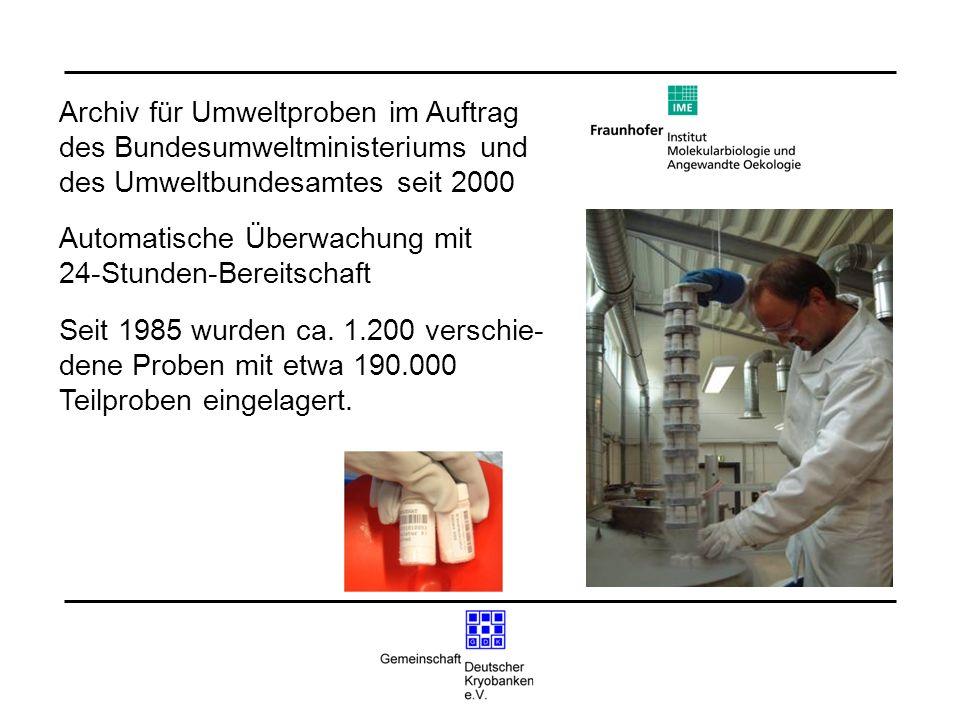 Archiv für Umweltproben im Auftrag des Bundesumweltministeriums und des Umweltbundesamtes seit 2000