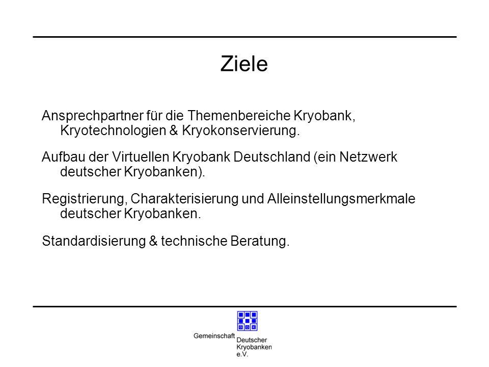Ziele Ansprechpartner für die Themenbereiche Kryobank, Kryotechnologien & Kryokonservierung.