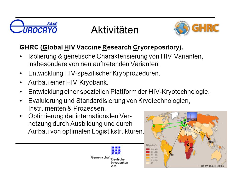Aktivitäten GHRC (Global HIV Vaccine Research Cryorepository).