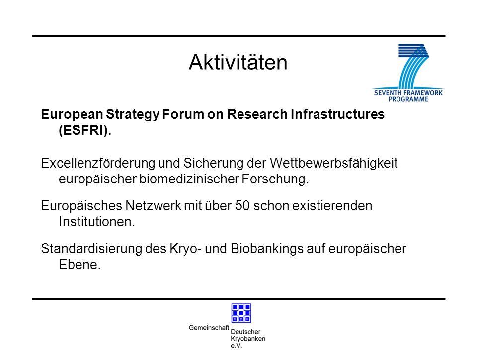 Aktivitäten European Strategy Forum on Research Infrastructures (ESFRI).