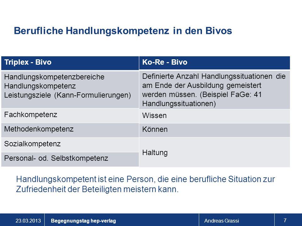 Berufliche Handlungskompetenz in den Bivos