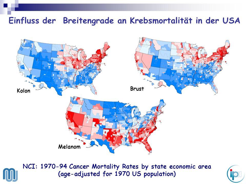 Einfluss der Breitengrade an Krebsmortalität in der USA