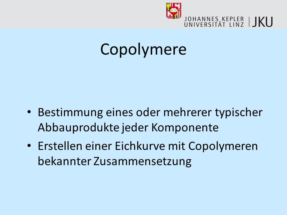 CopolymereBestimmung eines oder mehrerer typischer Abbauprodukte jeder Komponente.