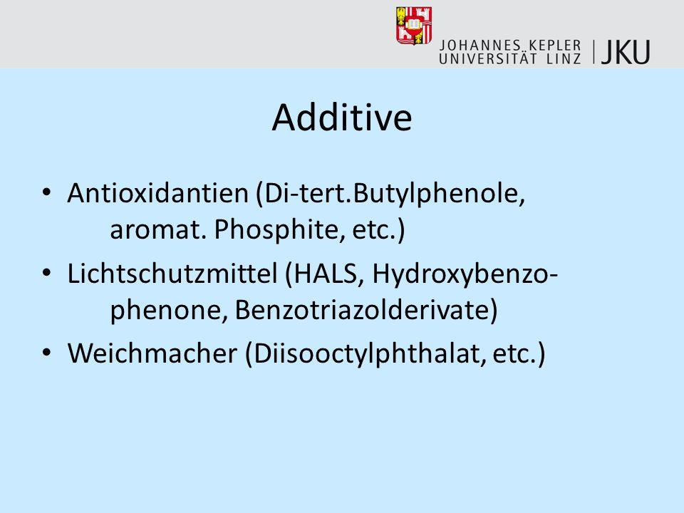 AdditiveAntioxidantien (Di-tert.Butylphenole, aromat. Phosphite, etc.) Lichtschutzmittel (HALS, Hydroxybenzo- phenone, Benzotriazolderivate)