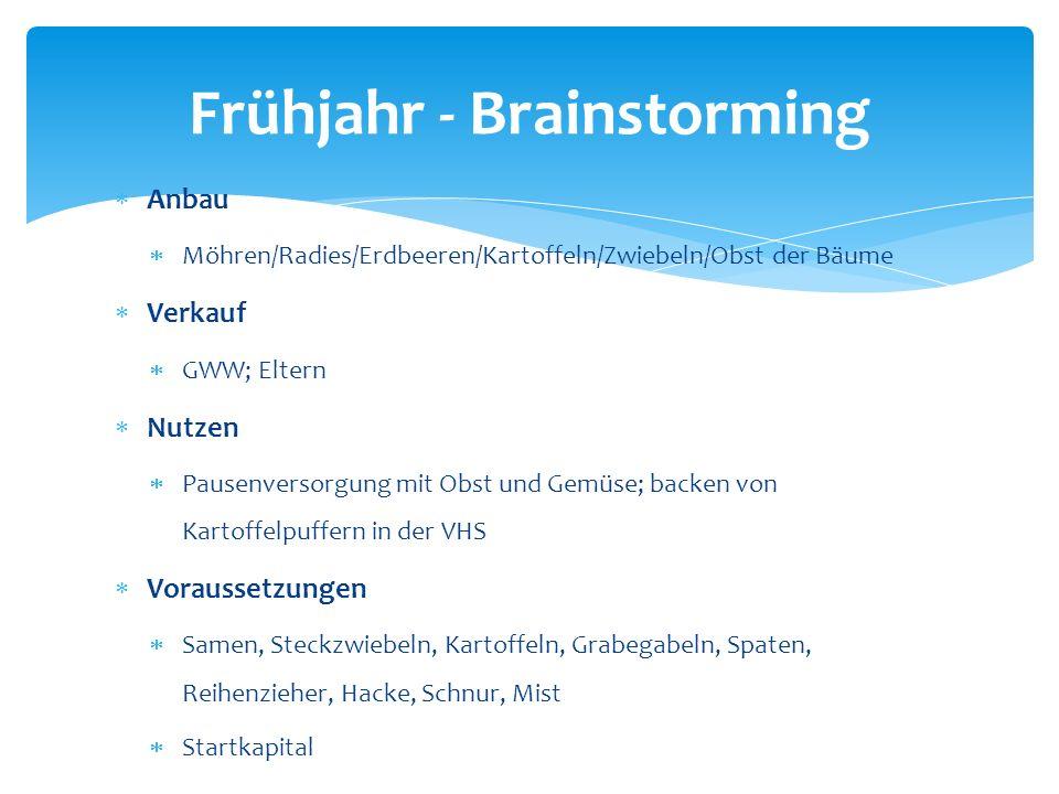 Frühjahr - Brainstorming