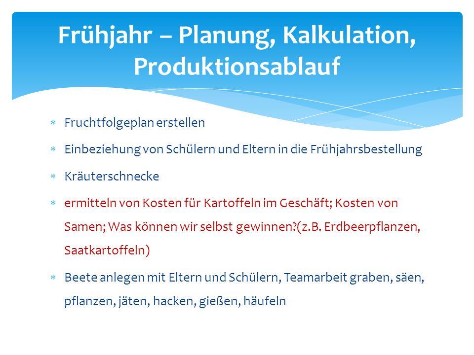 Frühjahr – Planung, Kalkulation, Produktionsablauf