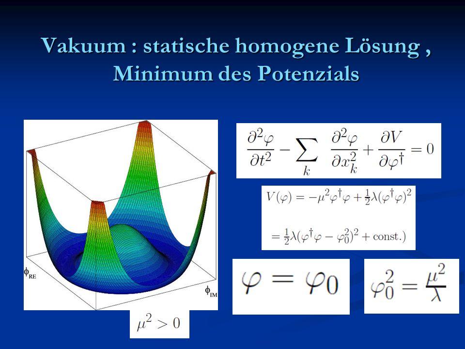 Vakuum : statische homogene Lösung , Minimum des Potenzials
