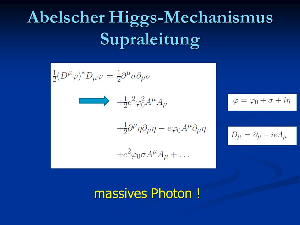 Abelscher Higgs-Mechanismus Supraleitung