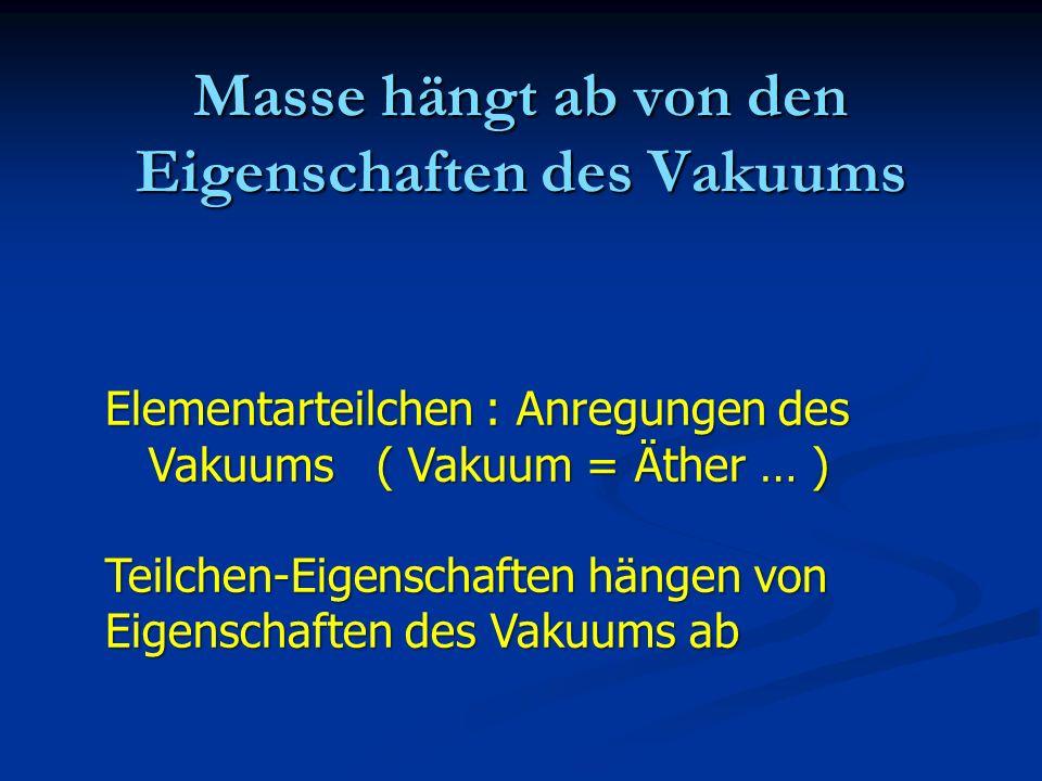 Masse hängt ab von den Eigenschaften des Vakuums
