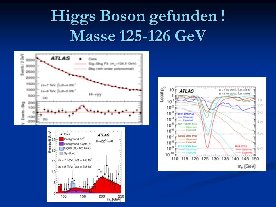 Higgs Boson gefunden ! Masse 125-126 GeV