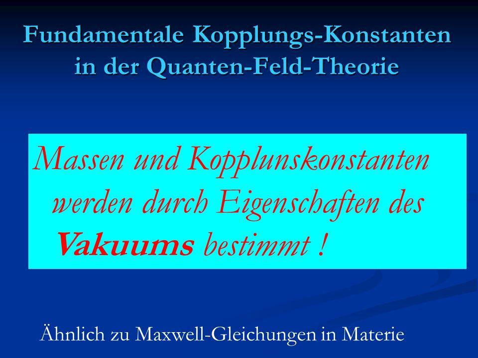 Fundamentale Kopplungs-Konstanten in der Quanten-Feld-Theorie