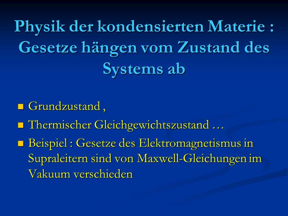 Physik der kondensierten Materie : Gesetze hängen vom Zustand des Systems ab