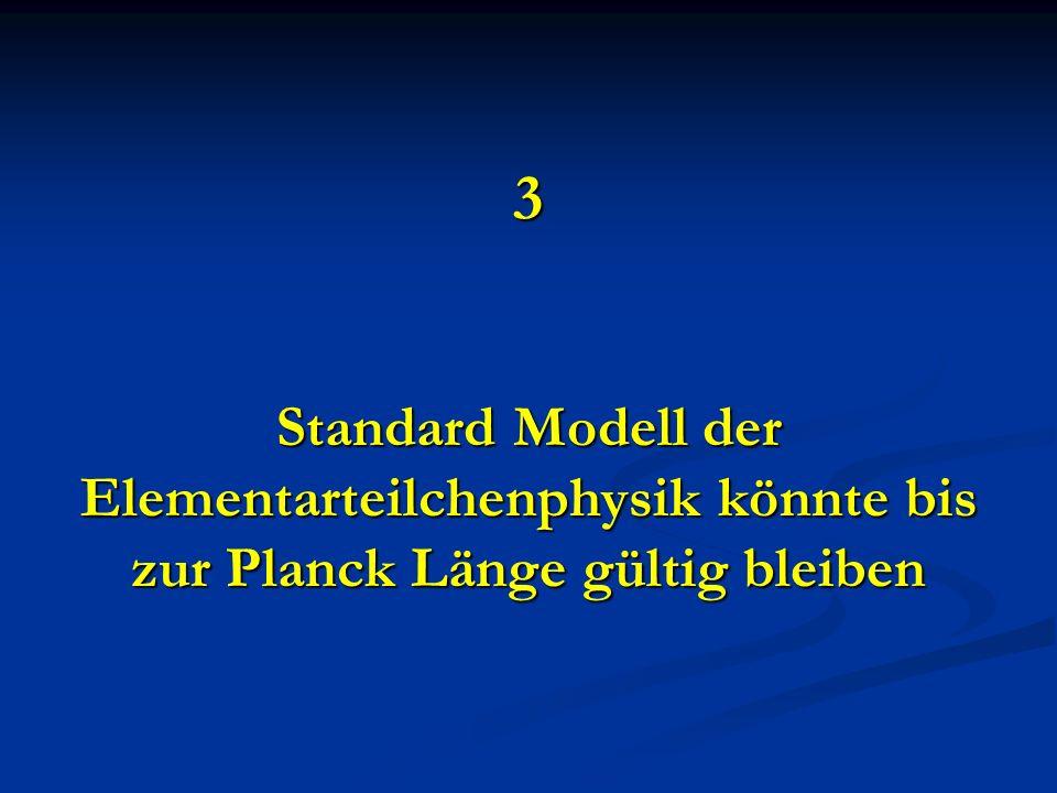 3 Standard Modell der Elementarteilchenphysik könnte bis zur Planck Länge gültig bleiben