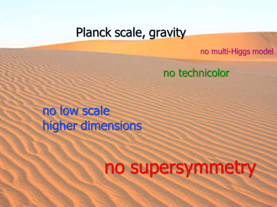 no supersymmetry Planck scale, gravity no low scale higher dimensions