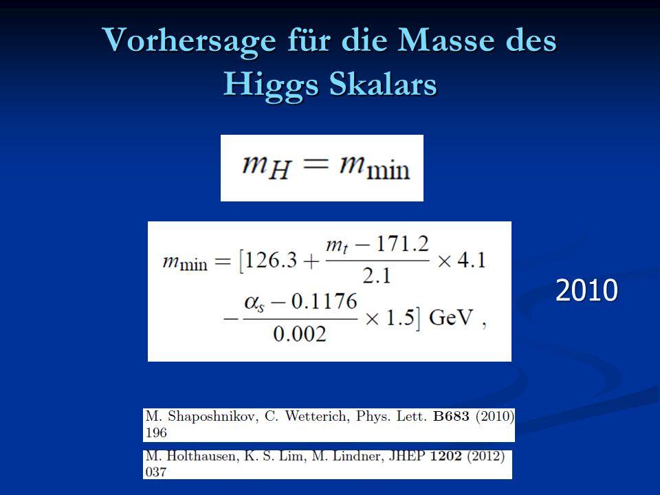 Vorhersage für die Masse des Higgs Skalars