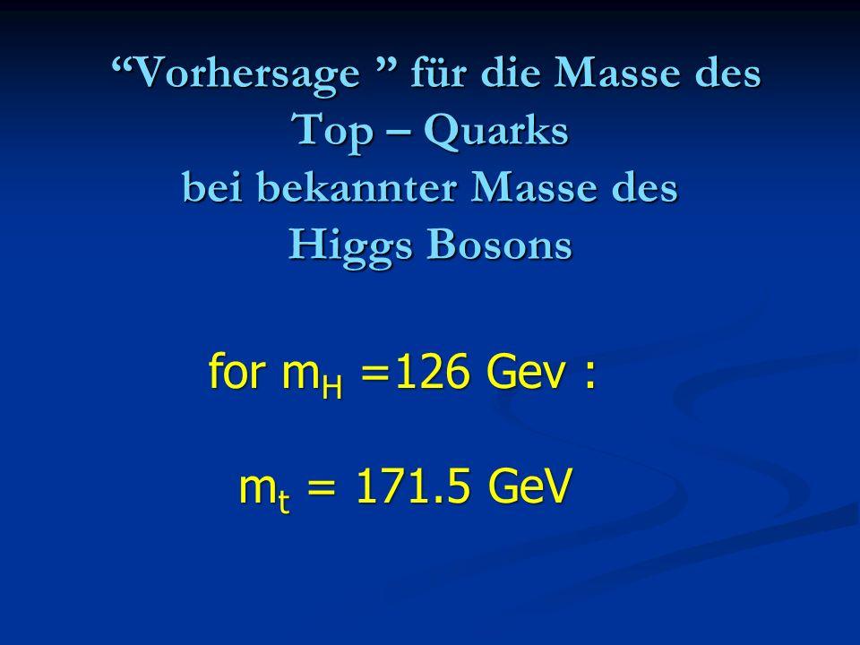 Vorhersage für die Masse des Top – Quarks bei bekannter Masse des Higgs Bosons