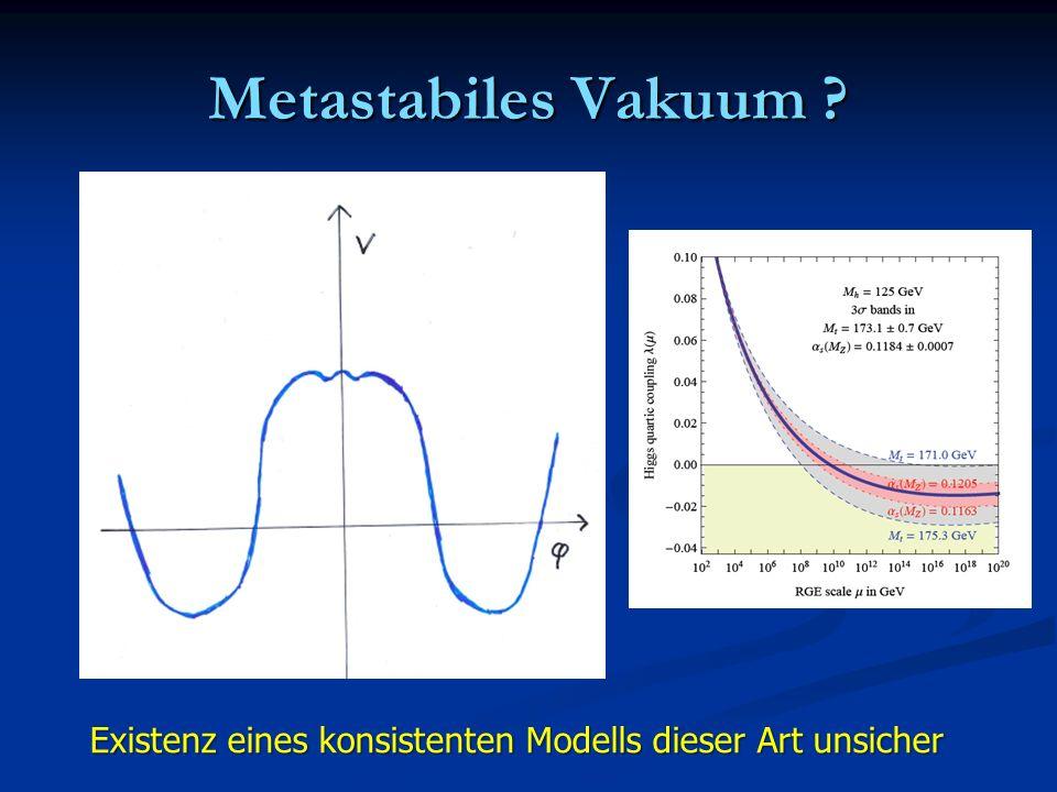 Metastabiles Vakuum Existenz eines konsistenten Modells dieser Art unsicher