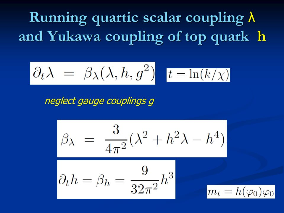 Running quartic scalar coupling λ and Yukawa coupling of top quark h