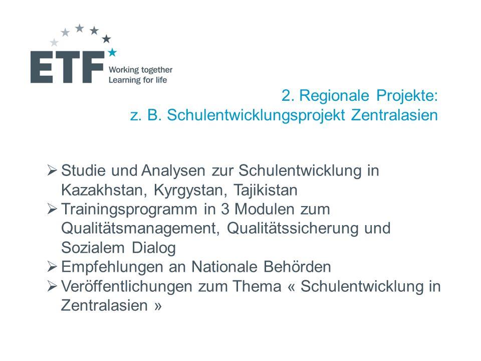 2. Regionale Projekte: z. B. Schulentwicklungsprojekt Zentralasien. Studie und Analysen zur Schulentwicklung in Kazakhstan, Kyrgystan, Tajikistan.