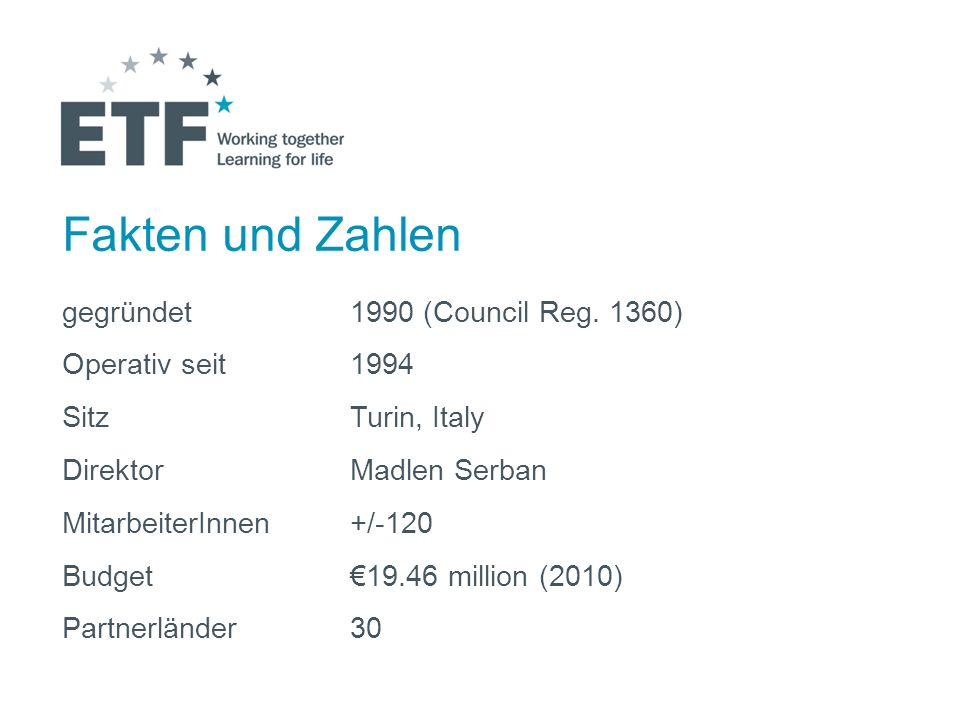 Fakten und Zahlen gegründet 1990 (Council Reg. 1360)