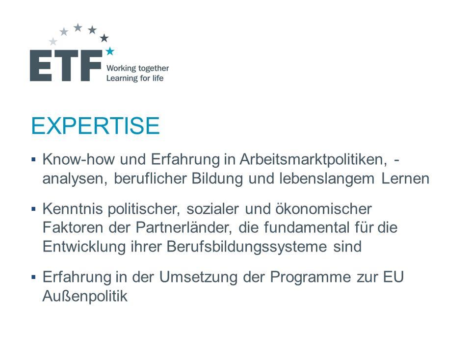 EXPERTISE Know-how und Erfahrung in Arbeitsmarktpolitiken, - analysen, beruflicher Bildung und lebenslangem Lernen.