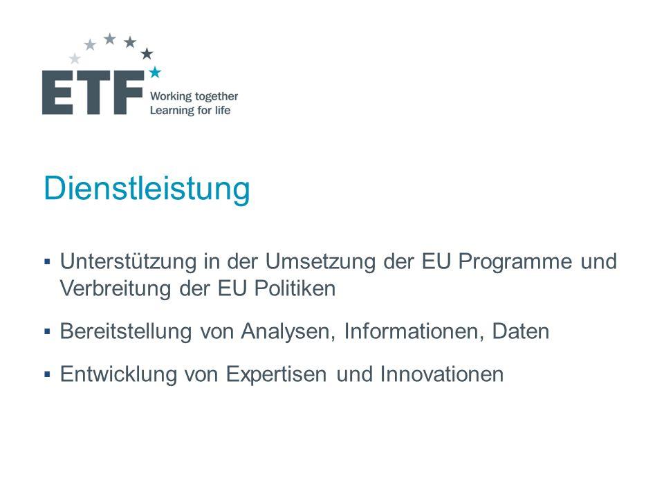 Dienstleistung Unterstützung in der Umsetzung der EU Programme und Verbreitung der EU Politiken. Bereitstellung von Analysen, Informationen, Daten.