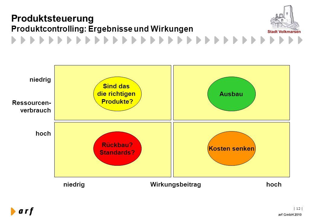 Produktsteuerung Produktcontrolling: Ergebnisse und Wirkungen