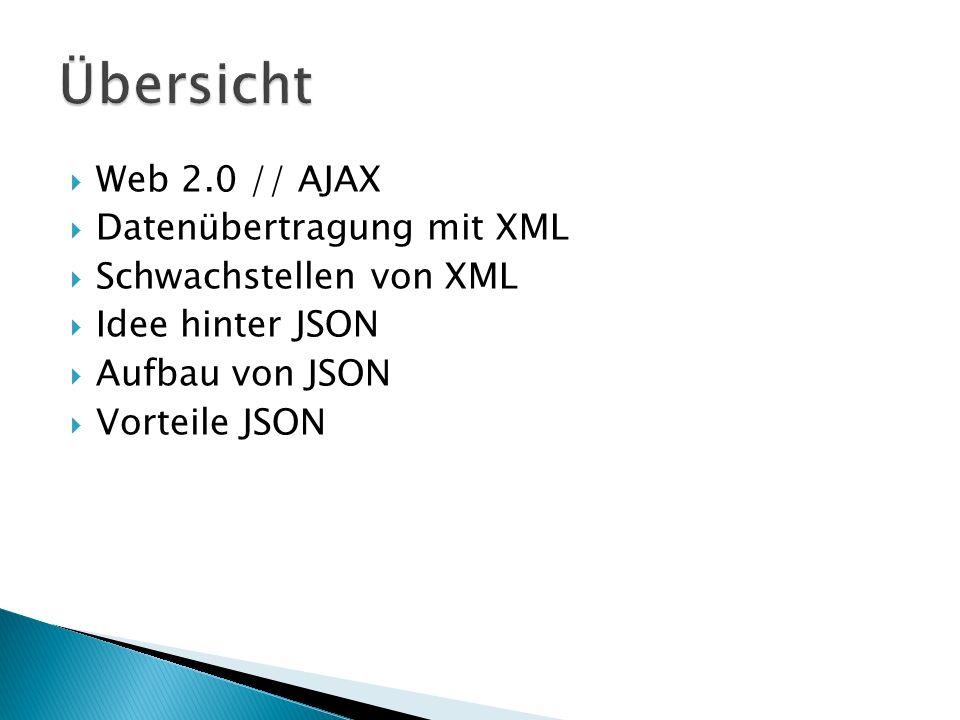 Übersicht Web 2.0 // AJAX Datenübertragung mit XML