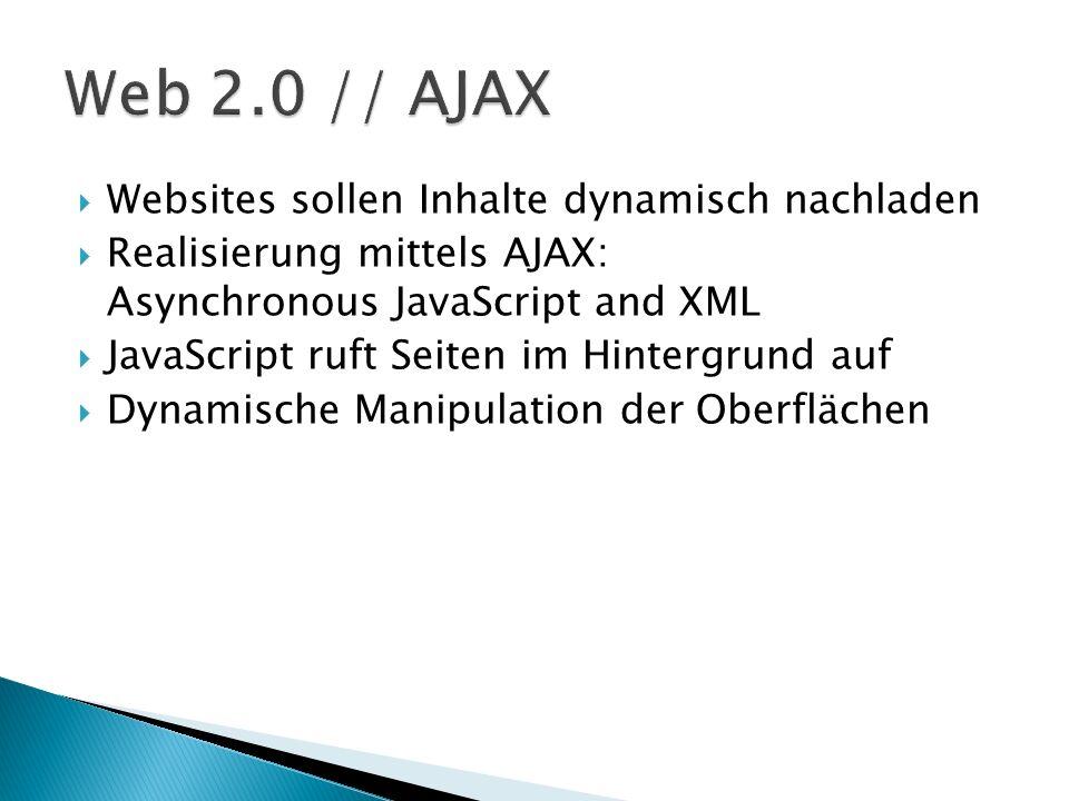 Web 2.0 // AJAX Websites sollen Inhalte dynamisch nachladen