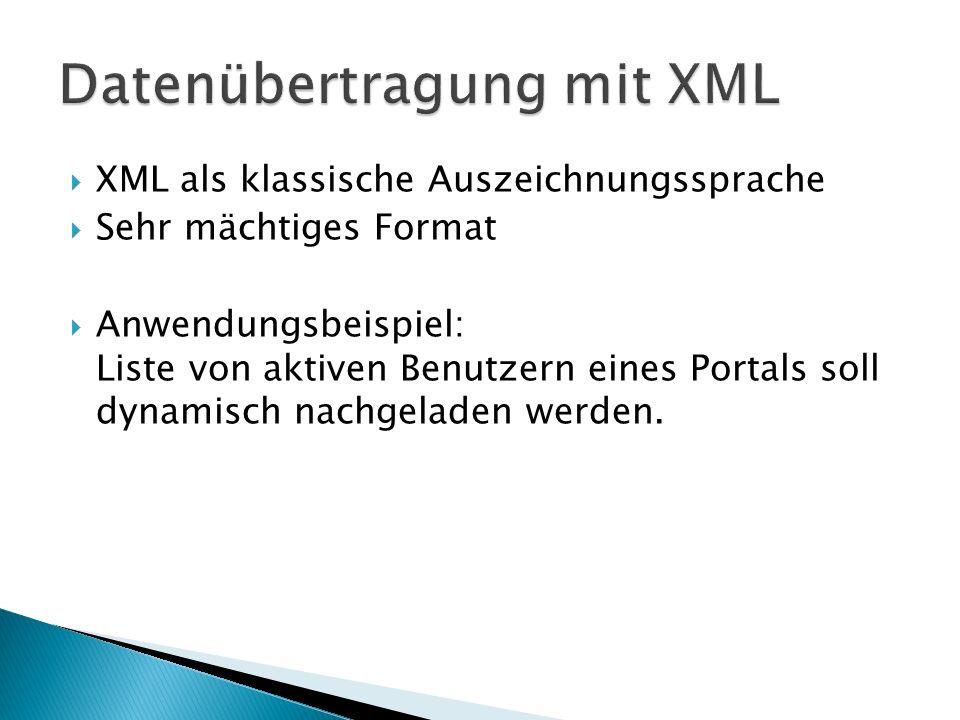 Datenübertragung mit XML