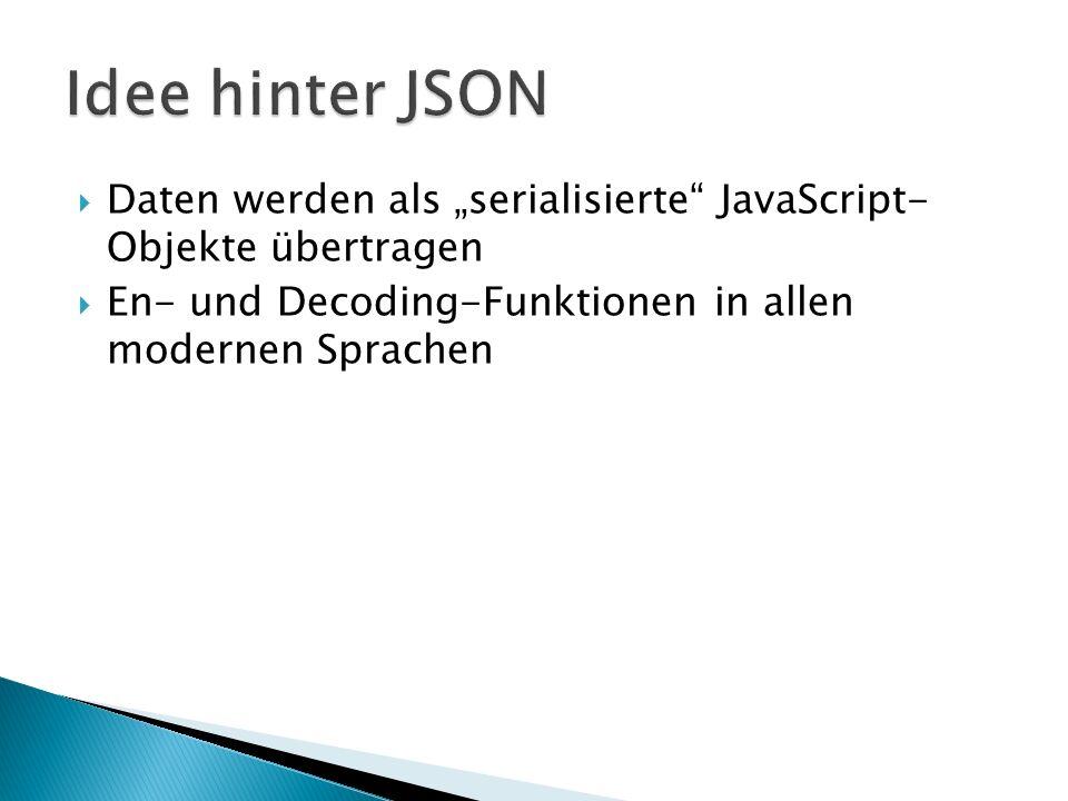 """Idee hinter JSON Daten werden als """"serialisierte JavaScript- Objekte übertragen."""