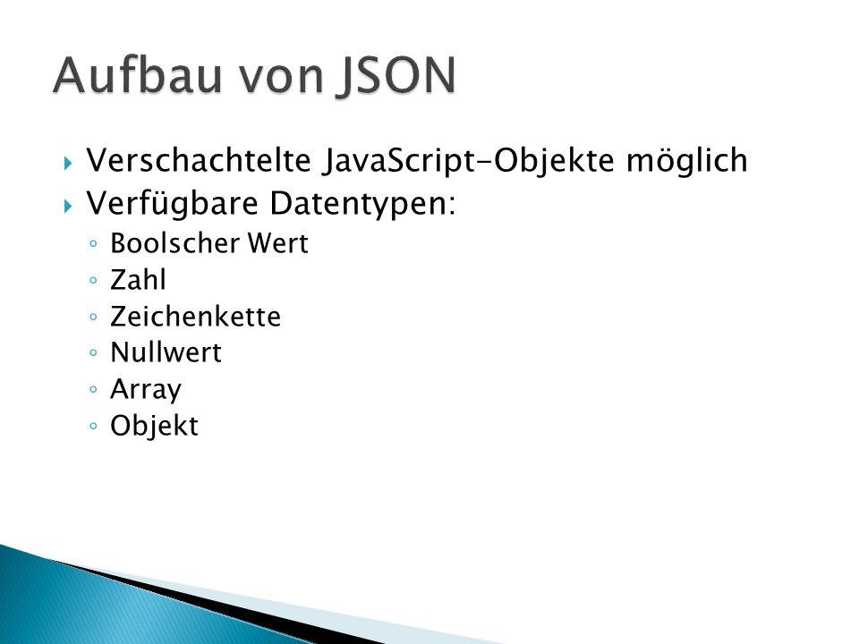 Aufbau von JSON Verschachtelte JavaScript-Objekte möglich