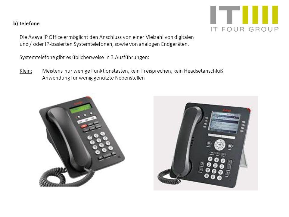 b) Telefone Die Avaya IP Office ermöglicht den Anschluss von einer Vielzahl von digitalen.