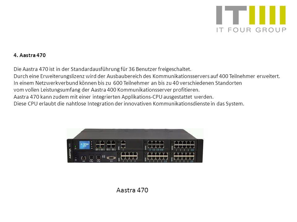 4. Aastra 470 Die Aastra 470 ist in der Standardausführung für 36 Benutzer freigeschaltet.