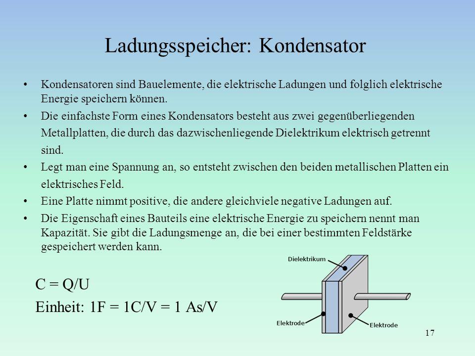 Ladungsspeicher: Kondensator