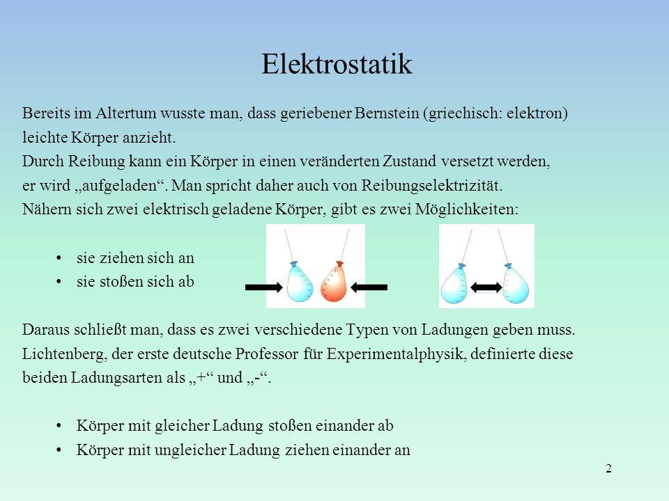 Elektrostatik Bereits im Altertum wusste man, dass geriebener Bernstein (griechisch: elektron) leichte Körper anzieht.